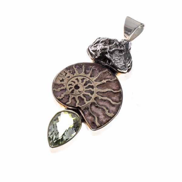 Sterling Silver Meteorite, Pyritized Ammonite, Green Amethyst Pendant