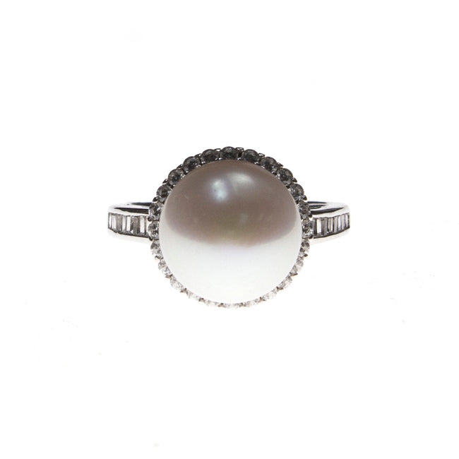 Sterling Silver Pearl CZ Ring