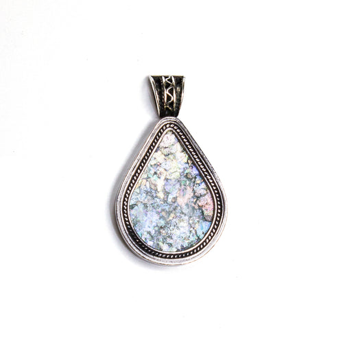 SS Roman Glass Pear Pendant