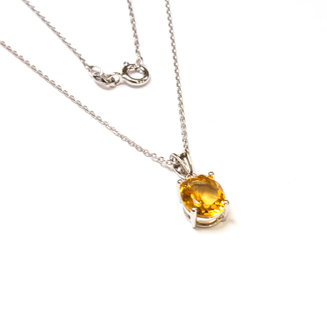 SS Small Created Citrine Oval Necklace