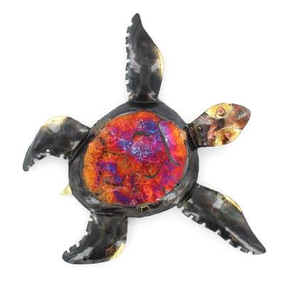 Small Copper Dripped Sea Turtle Wall Art