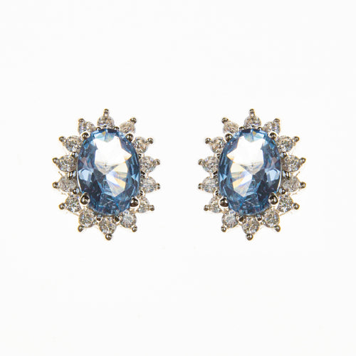 Sterling Silver Created Aquamarine and Cubic Zirconia Oval Stud Earrings