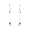 Sterling Silver Created Aqua Pear Dangle Earrings