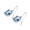 Sterling Silver Created Aquamarine Rectangle Earring