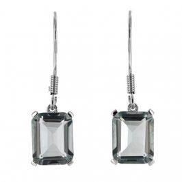 Sterling Silver Created Aquamarine 8mm x 10mm Rectangle Dangle Earrings