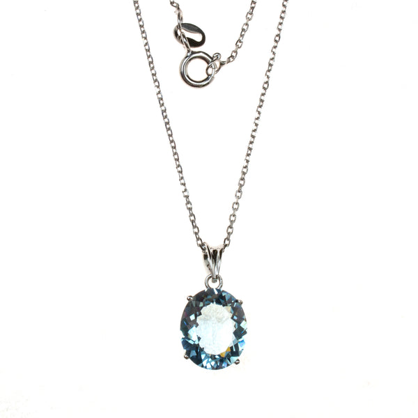 Sterling Silver Created Aqua Oval Necklace