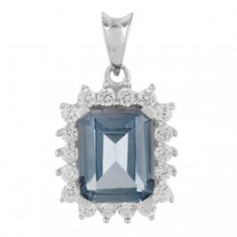 Sterling Silver Created Aquamarine & Cubic Zirconia Rectangle Pendant