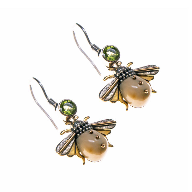 Sterling Silver Gold Filled Fossilized Walrus Ivory Bee Earrings