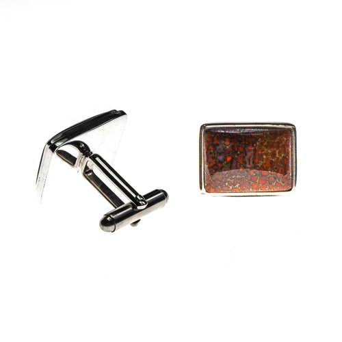Sterling Silver Dinosaur Bone Cuff Links
