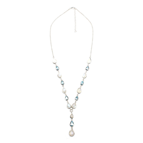 SS Rainbow Moonstone & Blue Topaz Pear Y Necklace