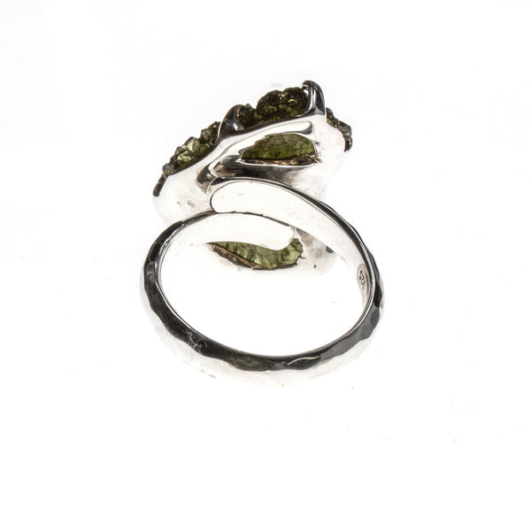 Sterling Silver Moldavite Nugget Pronged Adjustable Ring