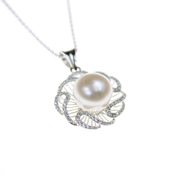 Sterling Silver Pearl Cubic Zirconia Necklace