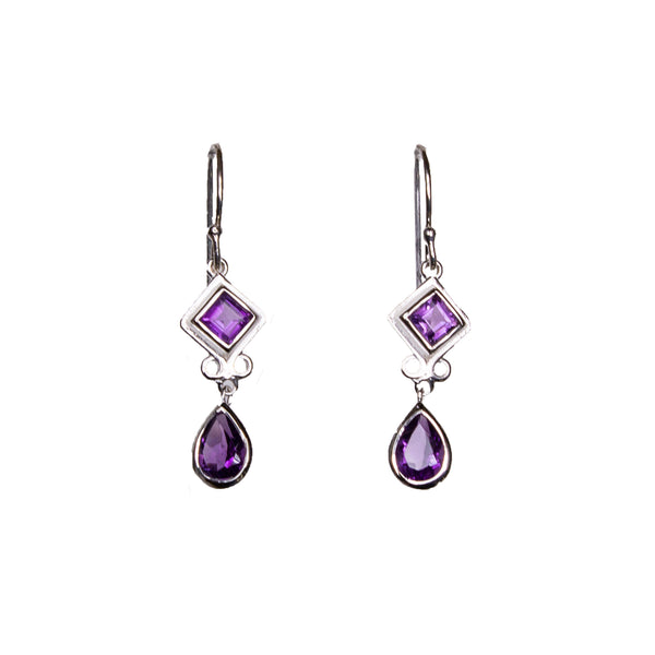 SS Amethyst Diamond & Pear Dangle Earrings