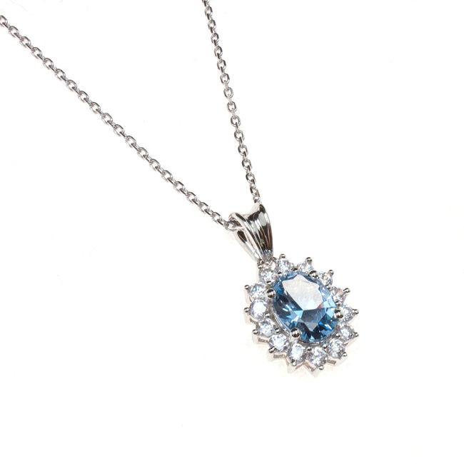 Sterling Silver Created Aquamarine CZ Necklace