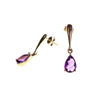 14K Amethyst Pear Bar Drop Earrings