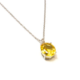 SS Created Citrine Oval Necklace
