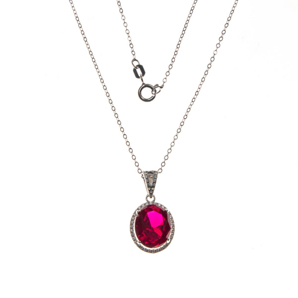 Sterling Silver Created Ruby and CZ Oval Necklace