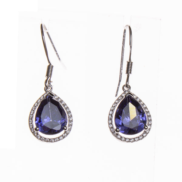 SS Created Tanzanite CZ Pear Earrings