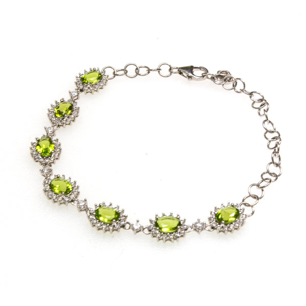 SS Created Peridot and CZ Flower Link Bracelet