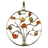 Sterling Silver Multi-Colored Amber Tree Pendant