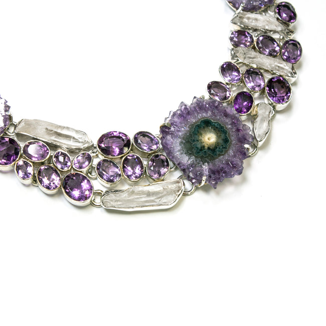SS Amethyst Stalactite and Quartz Statement Necklace
