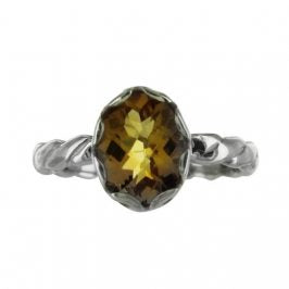 Sterling Silver Citrine Oval Twist Ring