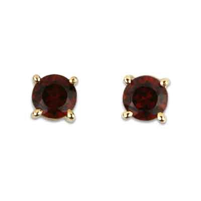 14K Yellow Gold Garnet Round 3.75mm Stud Earrings