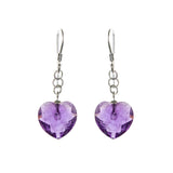Sterling Silver Amethyst Heart Earrings