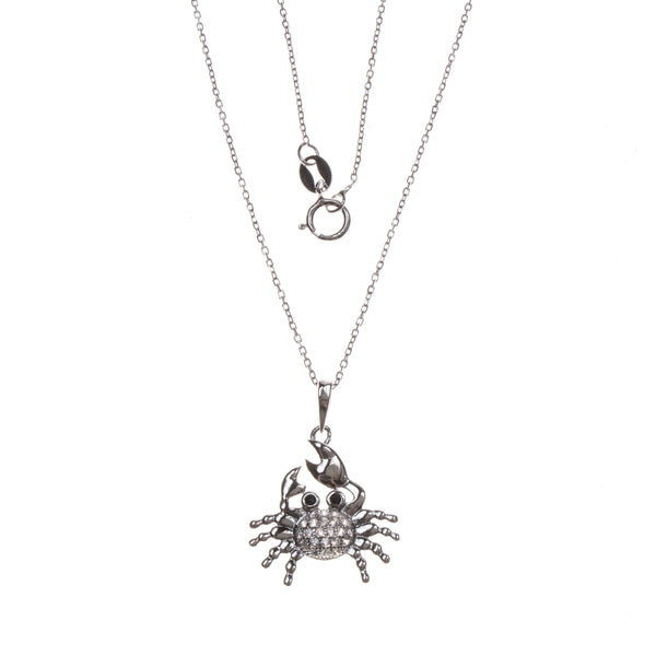 Sterling Silver CZ Pavé Crab Necklace
