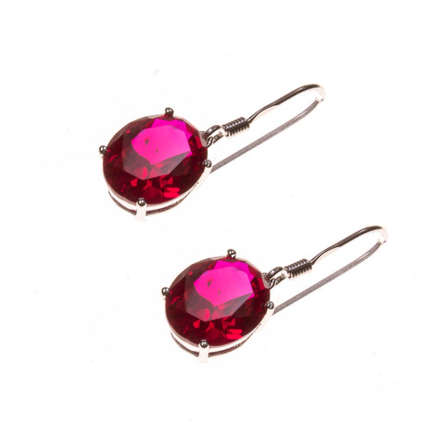 Sterling Silver Created Ruby Oval Dangle Earrings