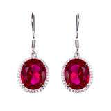 Sterling Silver Crated Ruby & CZ Earrings