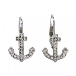 Sterling Silver Cubic Zirconia Pave Anchor Euro Earrings