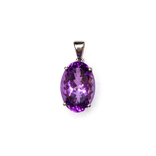 SS Faceted Amethyst Pendant