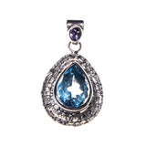 Hammered Sterling Silver Blue Topaz Pear Pendant