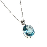 Sterling Silver Created Aquamarine Necklace