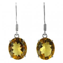Sterling Silver Created Citrine Oval Dangle Earrings