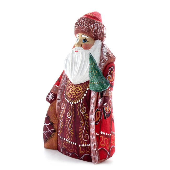 Carved Santa in Red Ornate Dress