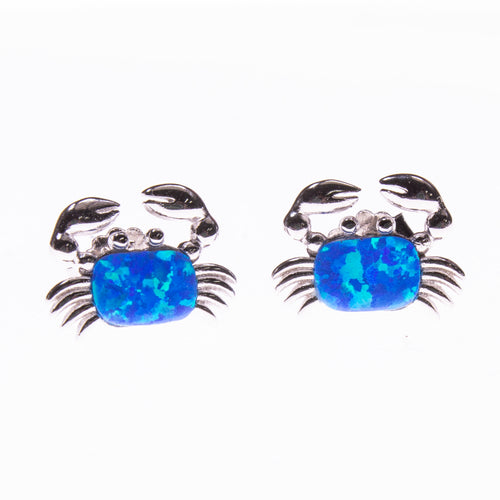 Sterling Silver Created Opal Crab Post Earrings