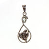 Sterling Silver Meteorite Nugget and Green Amethyst Pear Pendant