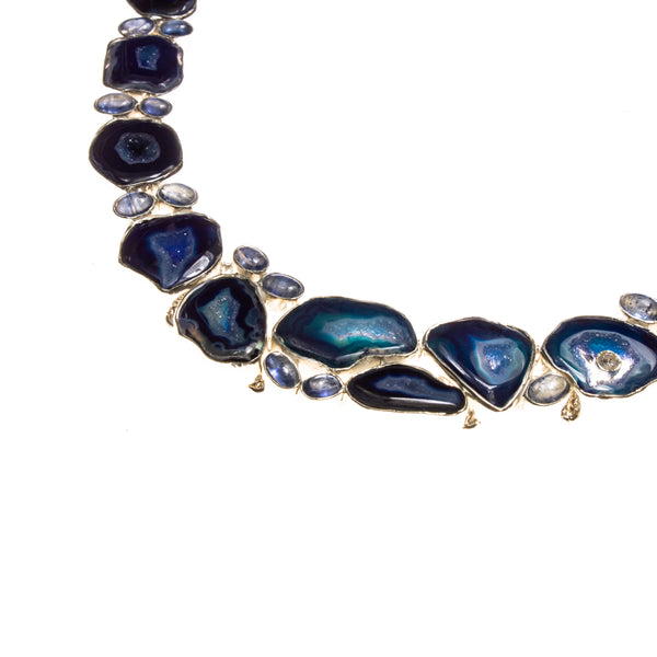 SS Blue Agate and Kyanite Toggle Necklace