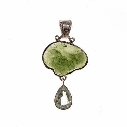 Sterling Silver Moldavite Nugget and Green Amethyst Pendant
