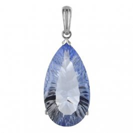 Sterling Silver Blue Quartz 15mm x 27mm Pear Pendant