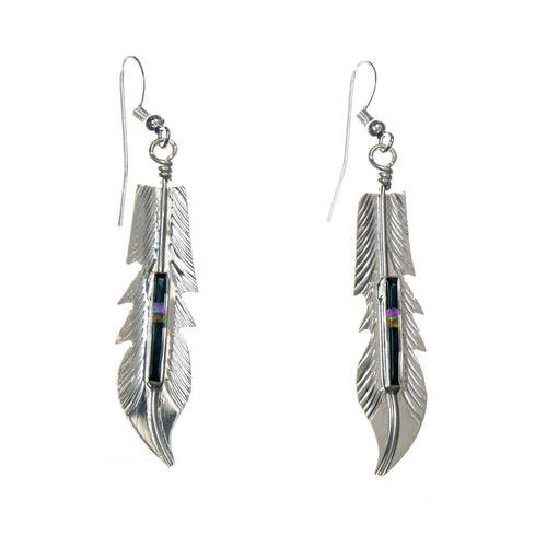 Sterling Silver Feather with Stone Inlay Earrings