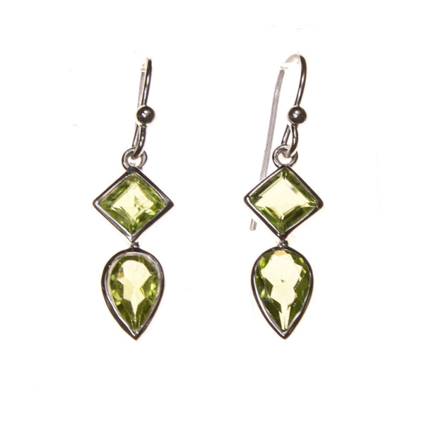 SS Square and Pear Peridot Earrings
