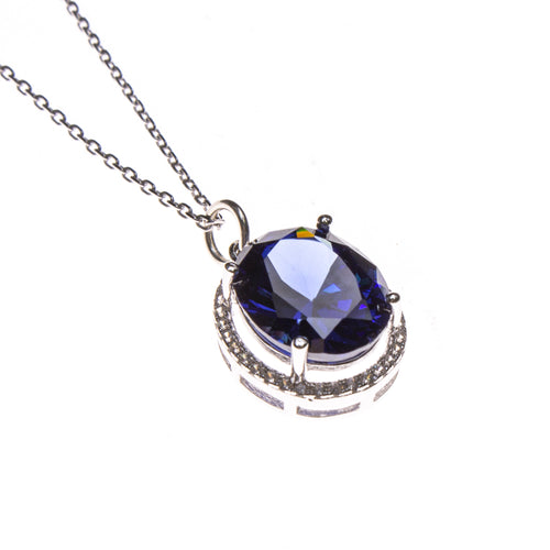 SS Created Tanzanite Oval w/ CZ Necklace