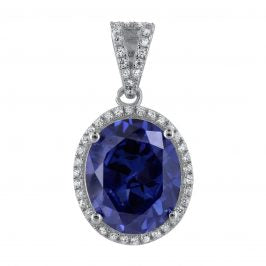 Sterling Silver Created Tanzanite & Cubic Zirconia Oval Pendant