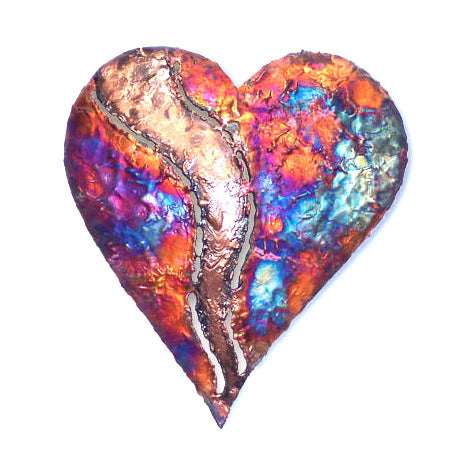 Copper Dripped Heart Wall Art