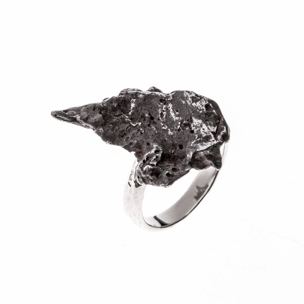 Sterling Silver Meteorite Nugget Ring Size 8.5
