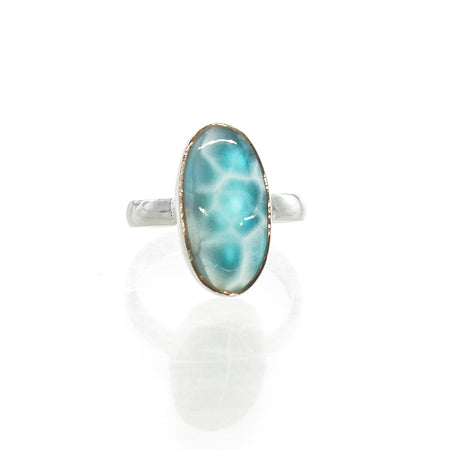 SS Green Amethyst Round Cut Out Ring (Size 7)