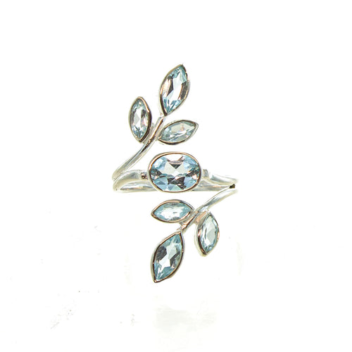SS Blue Topaz Marquis Leaf Wrap Ring (Size 8)